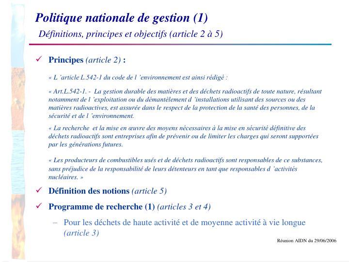 Politique nationale de gestion (1)