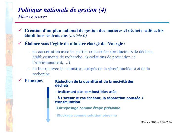 Politique nationale de gestion (4)