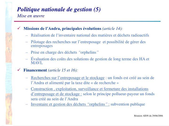 Politique nationale de gestion (5)