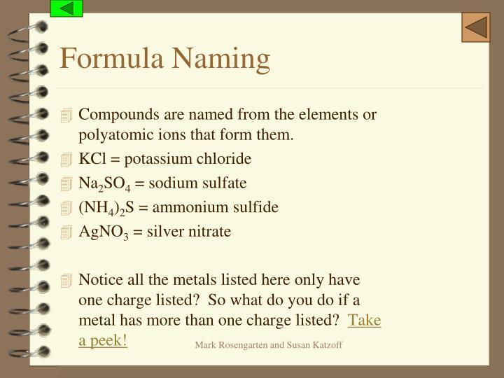 Formula Naming