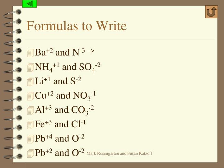 Formulas to Write