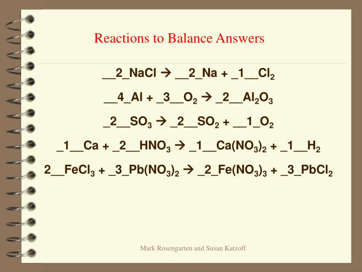 Reactions to Balance Answers