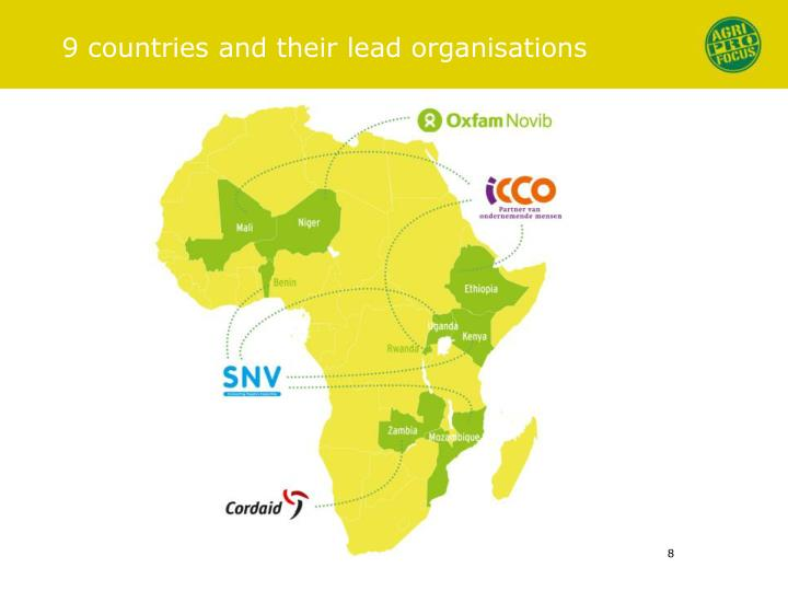 9 countries and their lead organisations