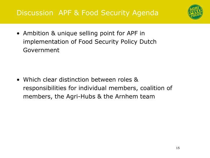 Discussion  APF & Food Security Agenda