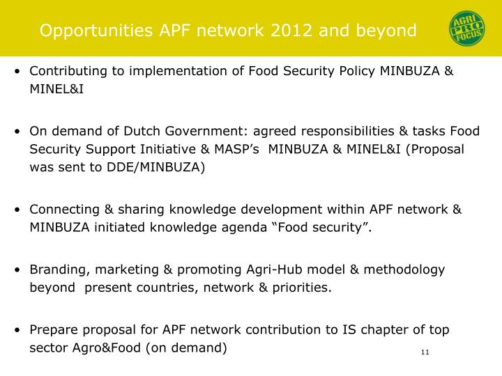 Opportunities APF network 2012 and beyond