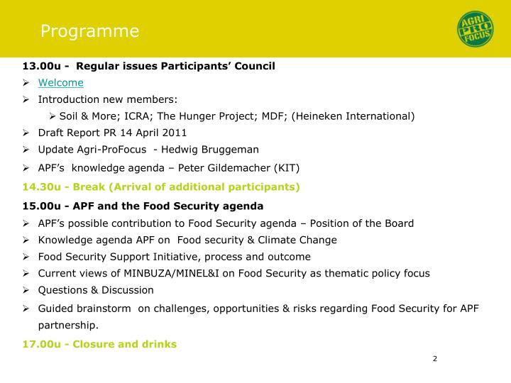13.00u -  Regular issues Participants' Council