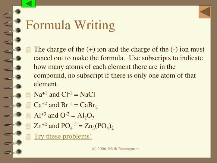 Formula Writing