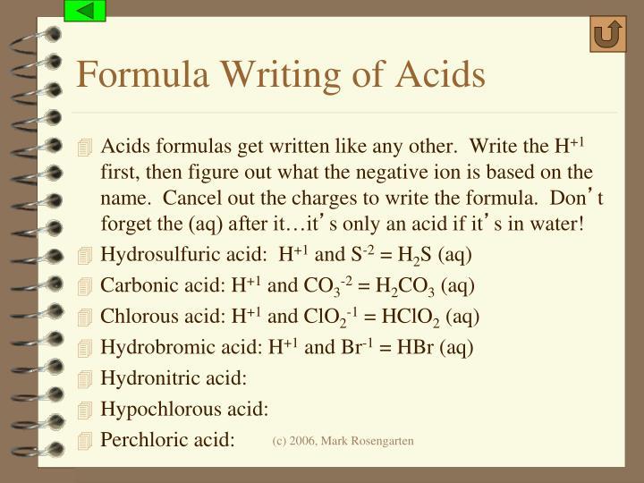 Formula Writing of Acids