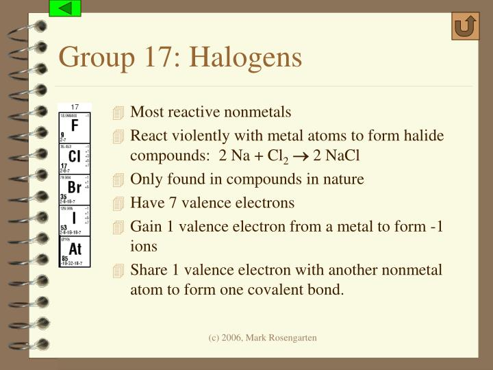 Group 17: Halogens
