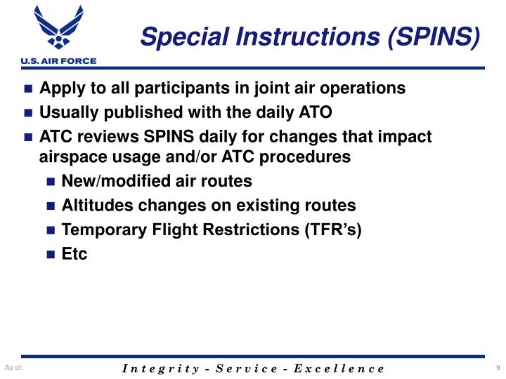 Special Instructions (SPINS)