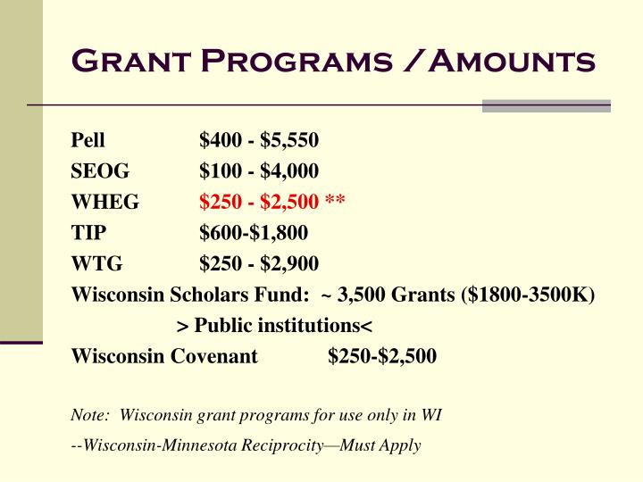 Grant Programs /Amounts