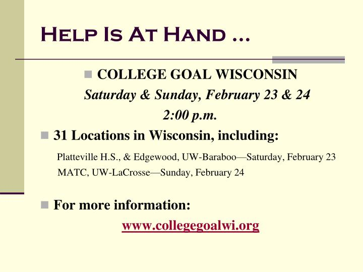 Help Is At Hand …