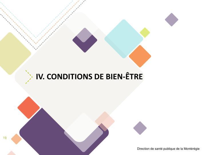 IV. Conditions de bien-être