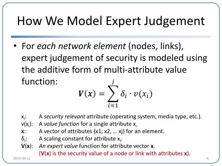 How We Model Expert Judgement