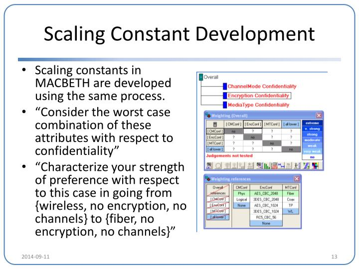 Scaling Constant Development