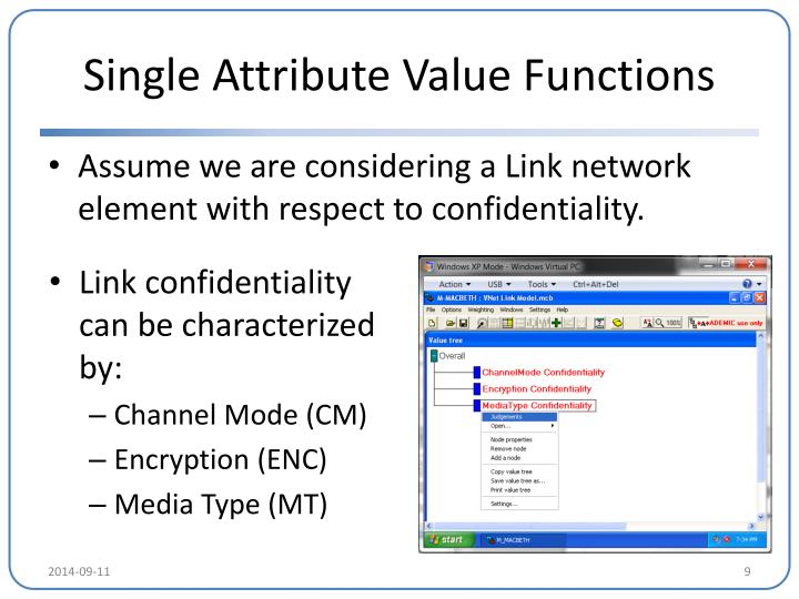 Single Attribute Value Functions