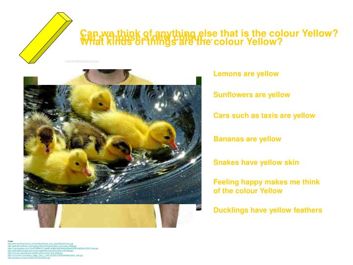 Can we think of anything else that is the colour Yellow?