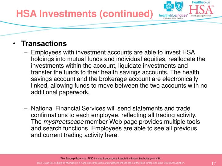 HSA Investments (continued)