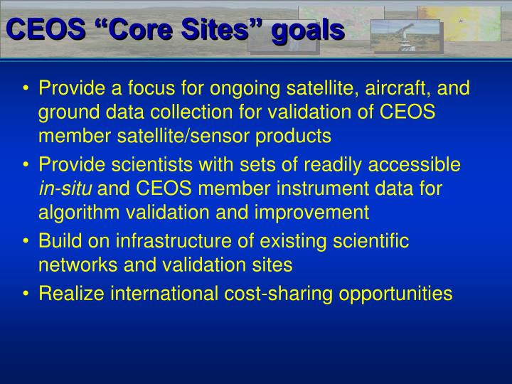 "CEOS ""Core Sites"" goals"
