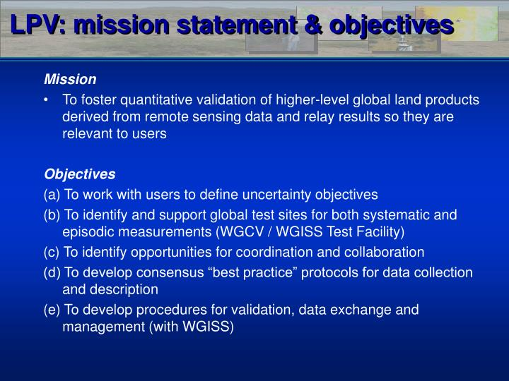 LPV: mission statement & objectives