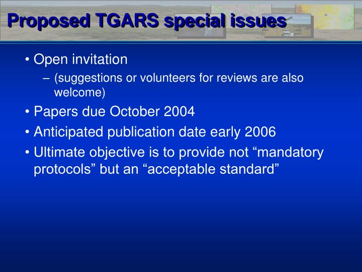 Proposed TGARS special issues