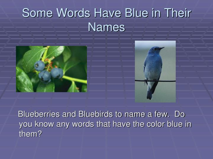 Some Words Have Blue in Their Names