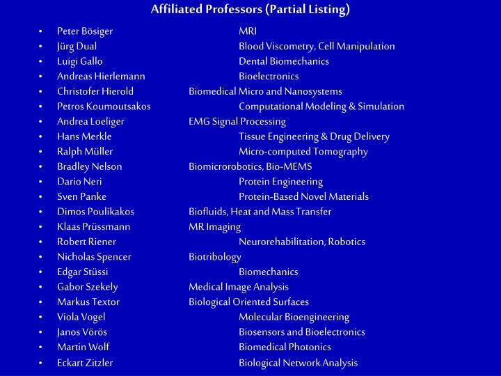 Affiliated Professors (Partial Listing)