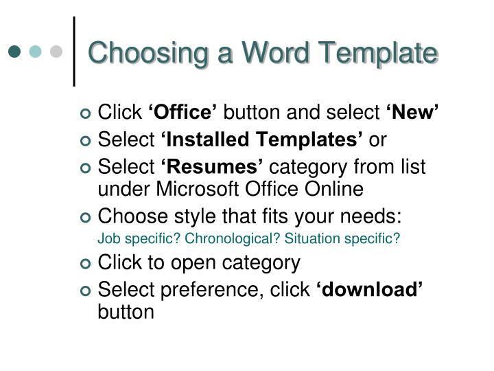 Choosing a Word Template