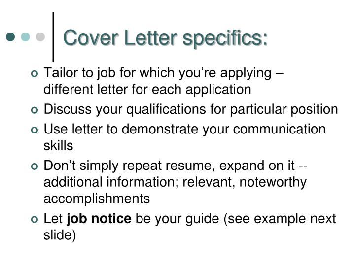 Cover Letter specifics:
