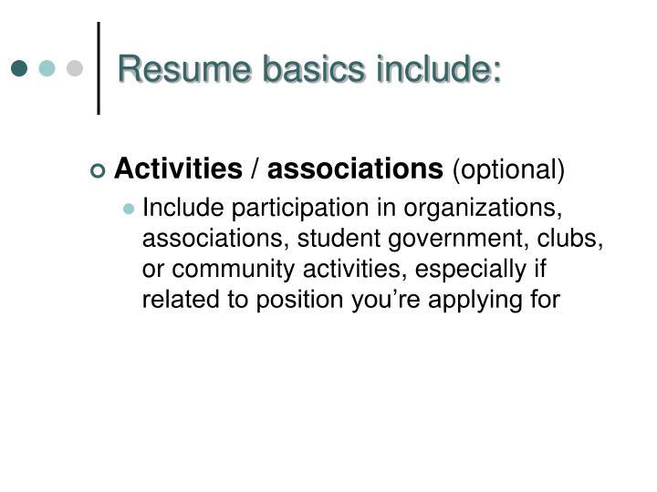 Activities / associations