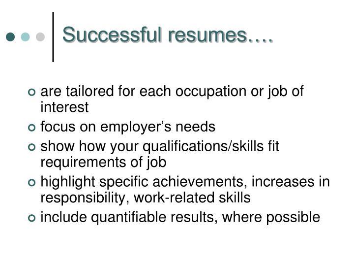 Successful resumes….