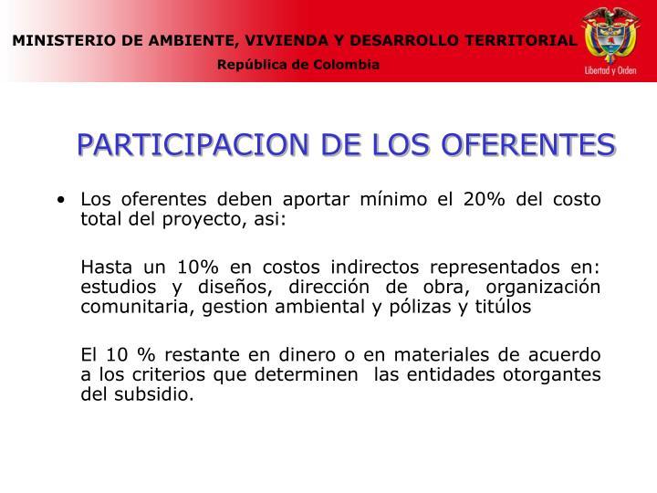 PARTICIPACION DE LOS OFERENTES