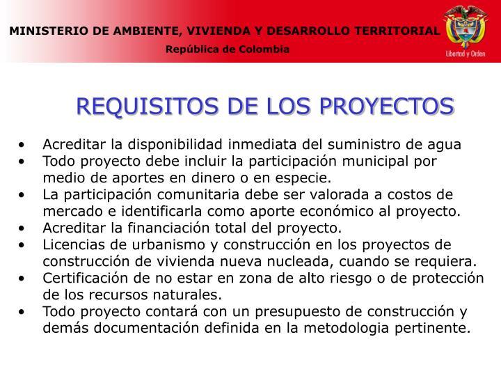 REQUISITOS DE LOS PROYECTOS