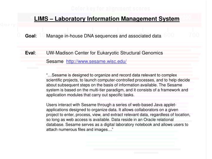 LIMS – Laboratory Information Management System