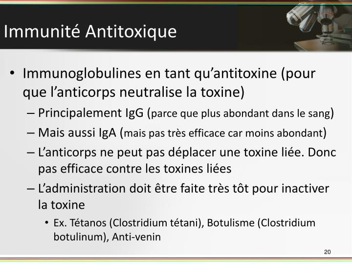 Immunité Antitoxique