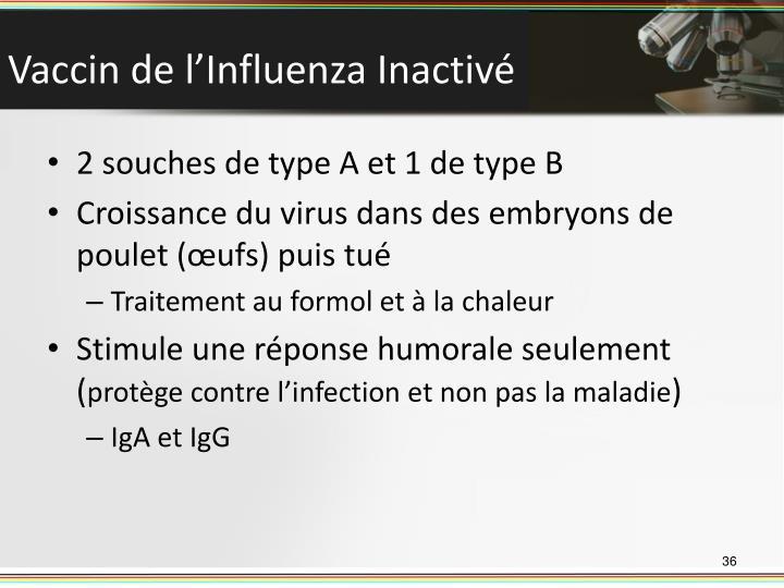 Vaccin de l'Influenza Inactivé