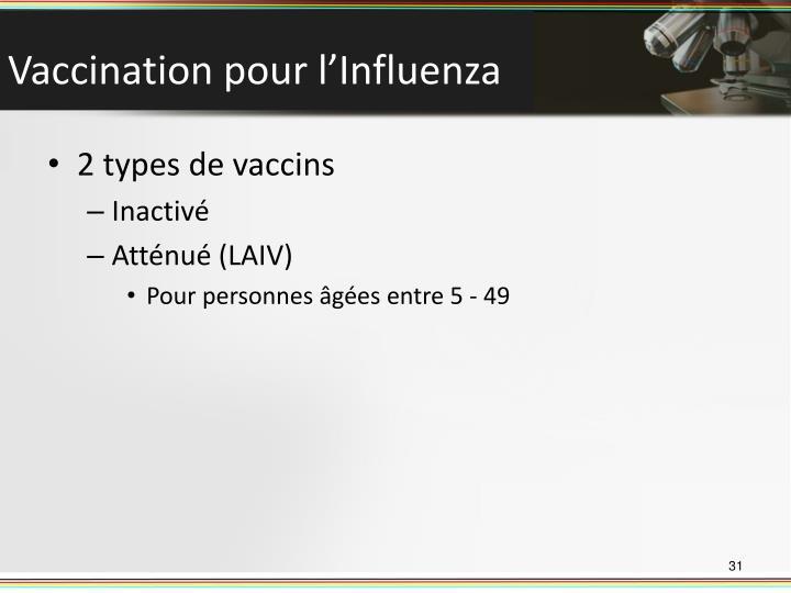 Vaccination pour l'Influenza