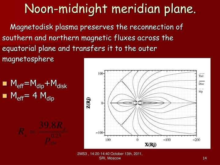 Noon-midnight meridian plane.