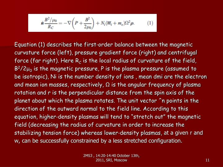 Equation (1) describes the first‐order balance between the magnetic
