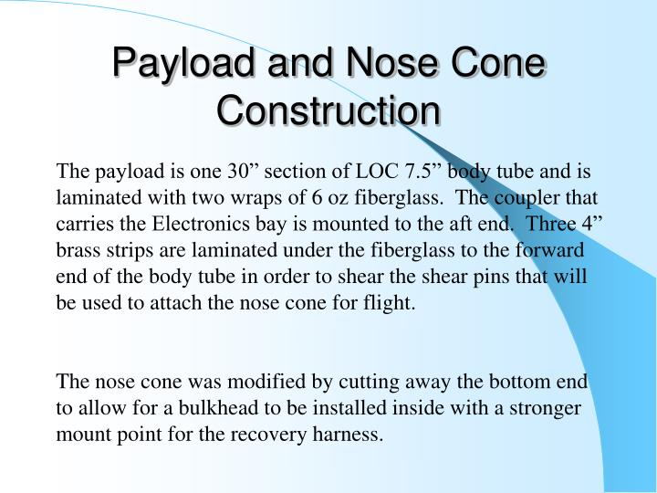 Payload and Nose Cone Construction