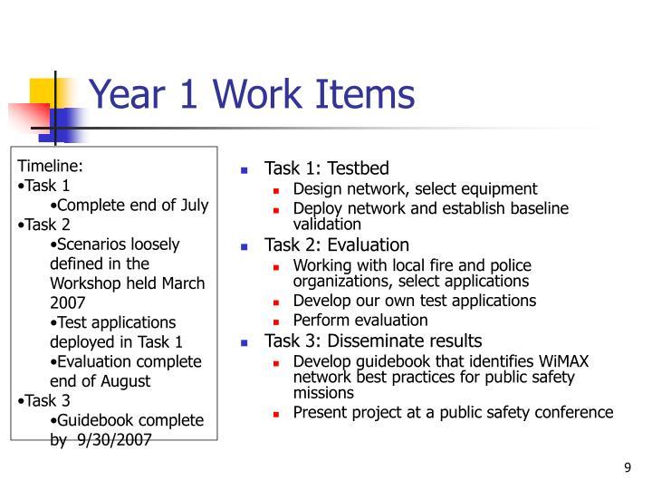 Year 1 Work Items