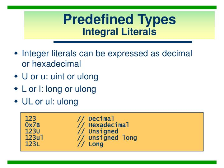 Predefined Types