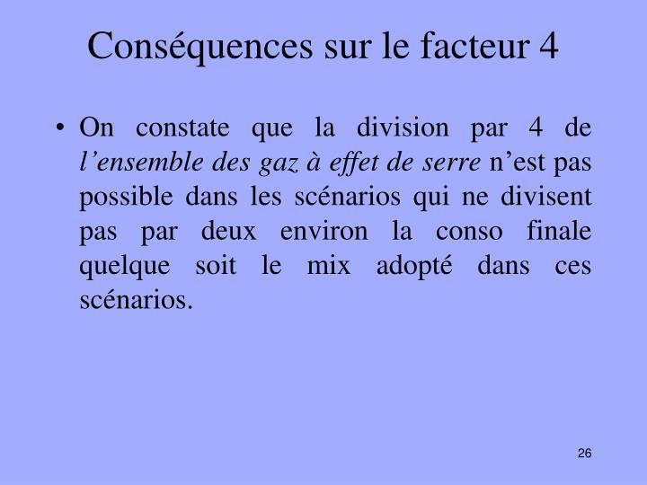 Conséquences sur le facteur 4