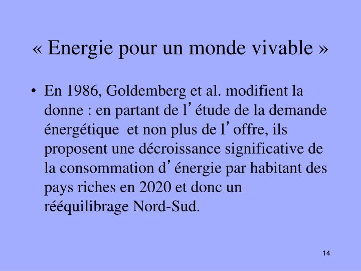 «Energie pour un monde vivable»