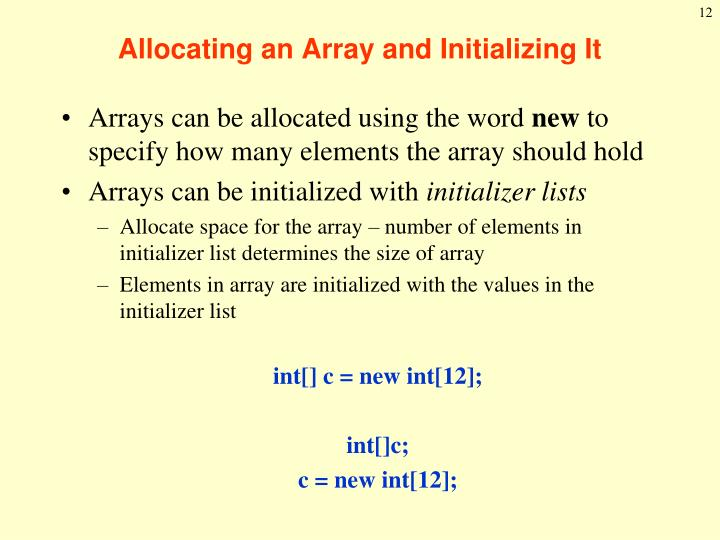 Allocating an Array and Initializing It