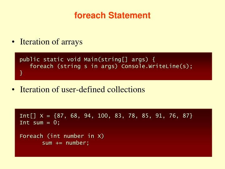 foreach Statement