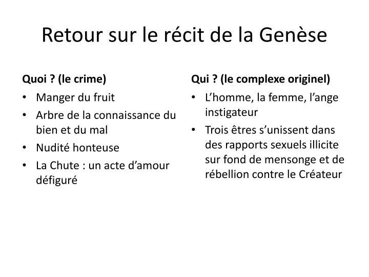 Retour sur le récit de la Genèse