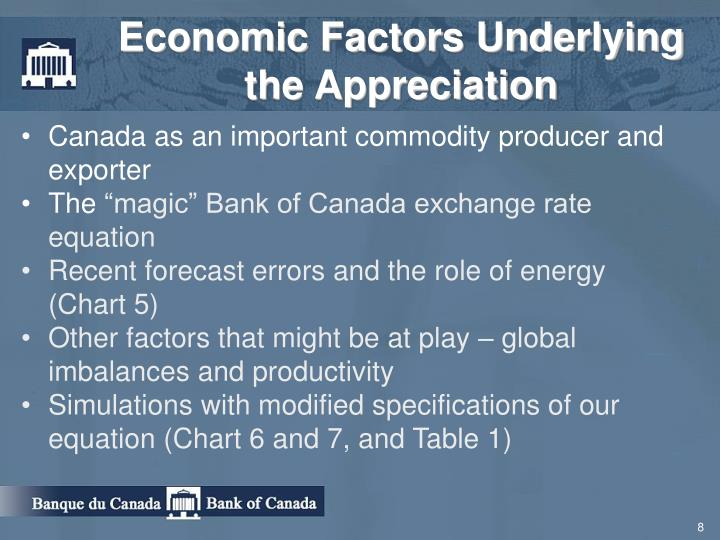 Economic Factors Underlying the Appreciation