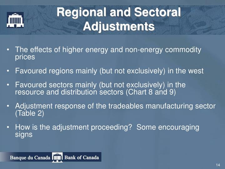Regional and Sectoral Adjustments
