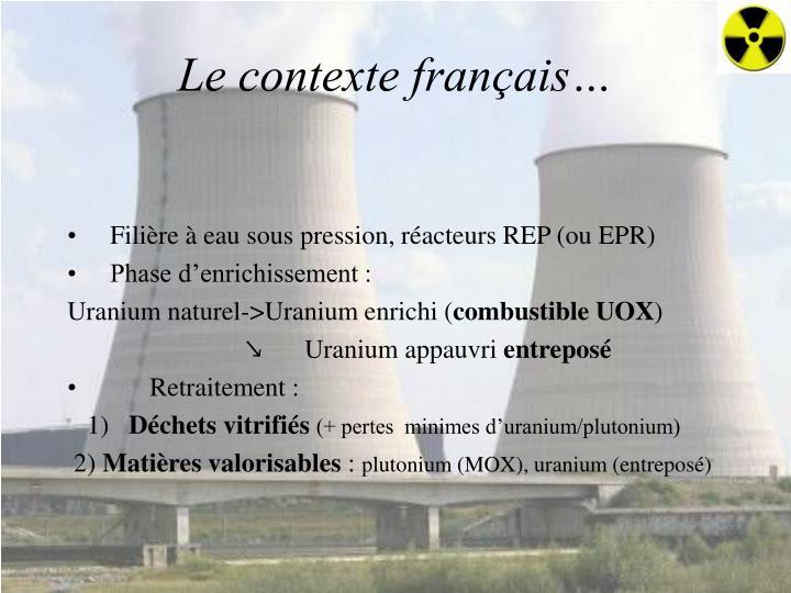 Le contexte français…